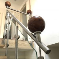 Stainless Steel and Glass Balustrade with incorporated wooden balls 3